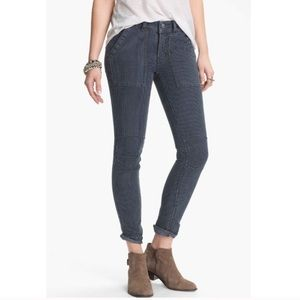 Free people railroad stripe skinny utility jeans